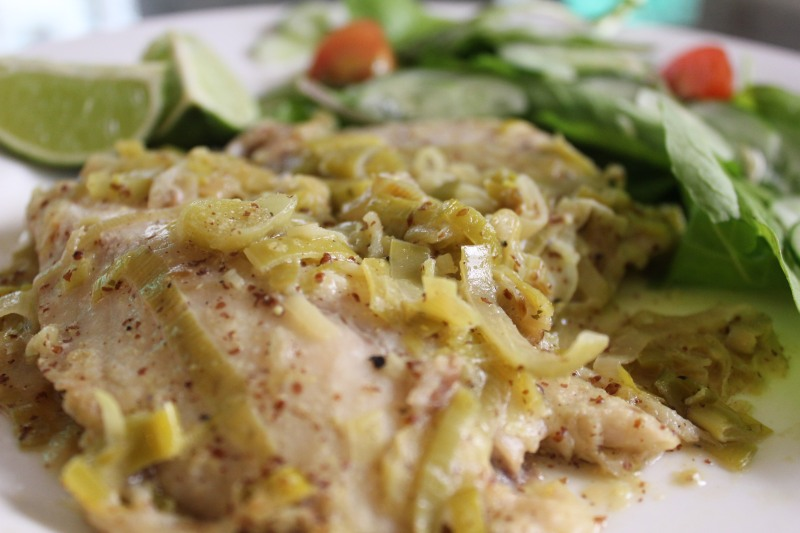 Poached Tilapia in Creamy Coconut-Leek Reduction
