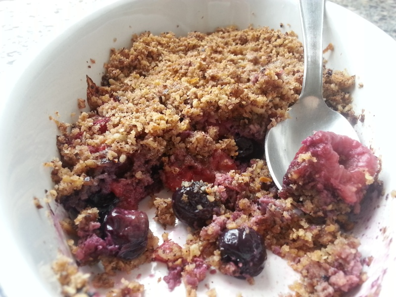 Blueberry and Raspberry Crumble (Gluten-free, Grain-free, Paleo)