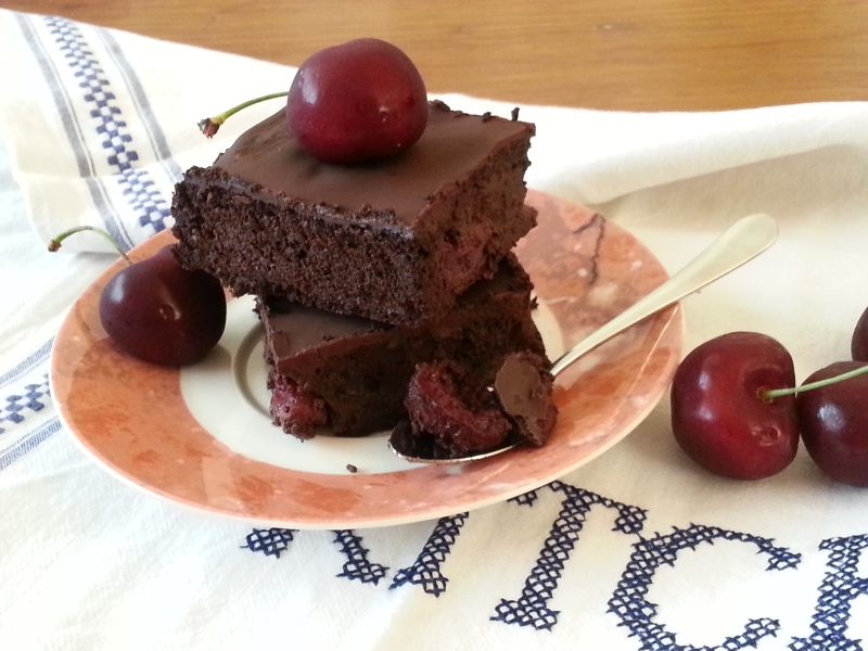 Cherry Red Wine Brownies (with a luscious dark chocolate ganache)