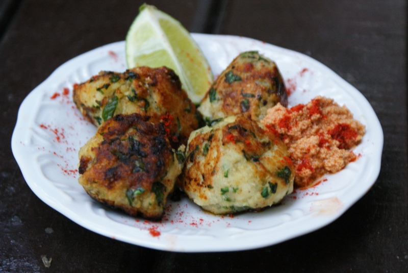 Mini Fish Cakes with Spicy Tahini Aioli