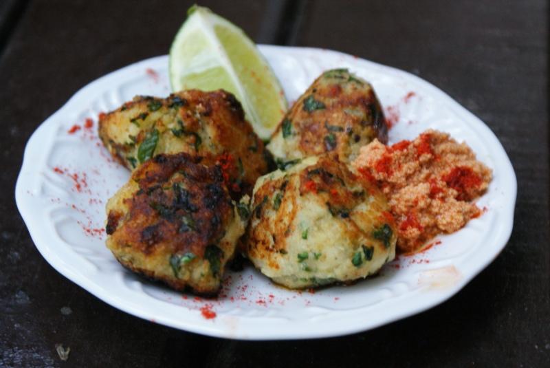 Mini Fish Cakes with Spicy Tahini Aioli