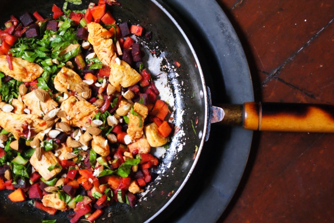 Smokey Chicken, Rainbow Vegetable Saute and Crunchy Almonds