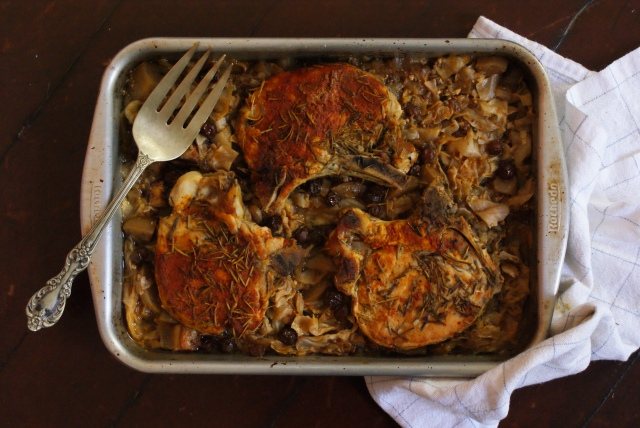 Rosemary Pork Chops Braised in Sweet Apple Cabbage Salad