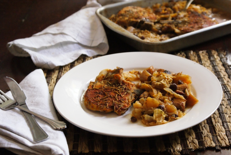 Rosemary Pork Chops Braised in Sweet Apple Cabbage Salad