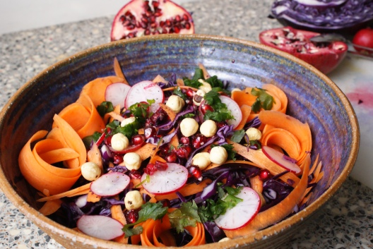 Winter Red Cabbage Salad with Hazelnuts and Pomegranate by My Little Jar of Spices