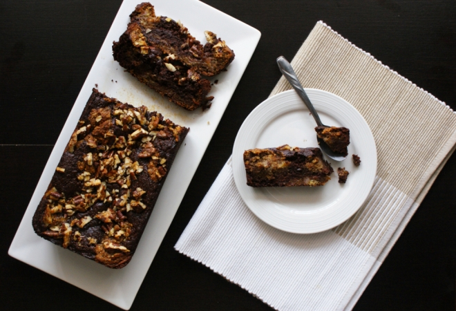 Decadent, Fudgy, Chocolate Swirl Banana Bread with Pecan Streusel by My Little Jar of Spices